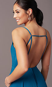 Image of long formal deep-v-neck prom dress by PromGirl. Style: PG-F2003 Detail Image 1