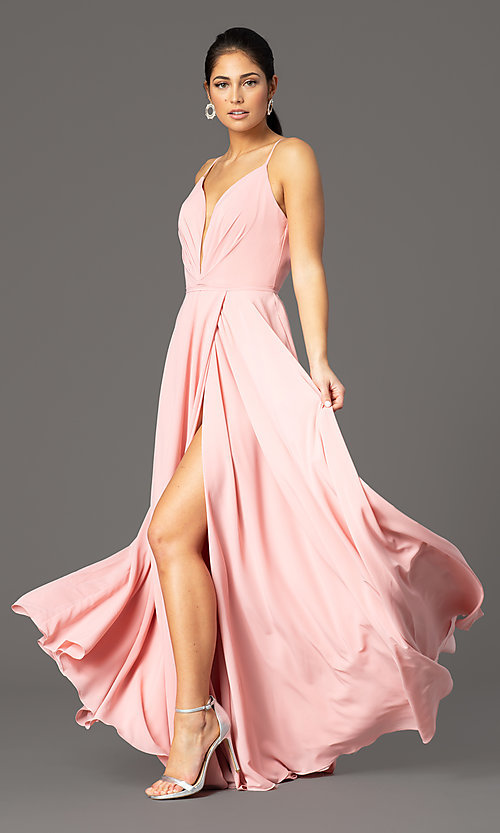 Image of long formal deep-v-neck prom dress by PromGirl. Style: PG-F2003 Detail Image 6