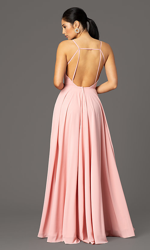 Image of long formal deep-v-neck prom dress by PromGirl. Style: PG-F2003 Detail Image 7