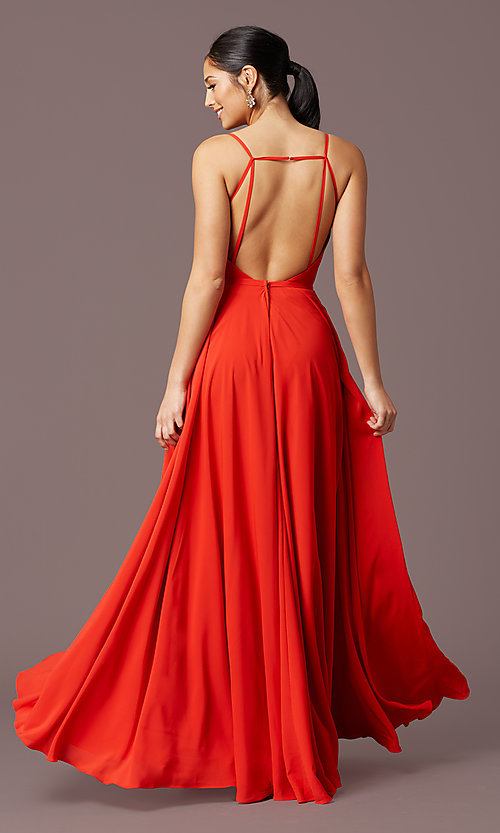 Image of long formal deep-v-neck prom dress by PromGirl. Style: PG-F2003 Detail Image 4