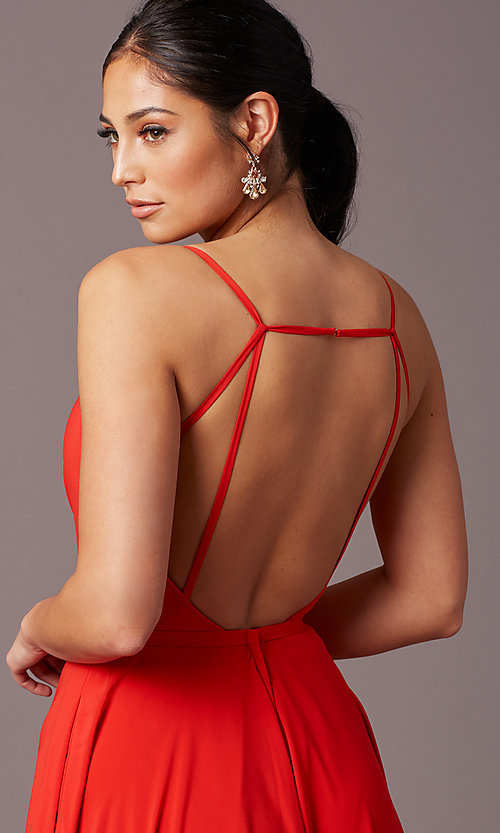 Image of long formal deep-v-neck prom dress by PromGirl. Style: PG-F2003 Detail Image 5