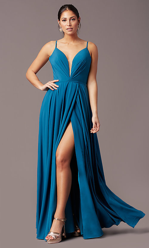 Image of long formal deep-v-neck prom dress by PromGirl. Style: PG-F2003 Front Image