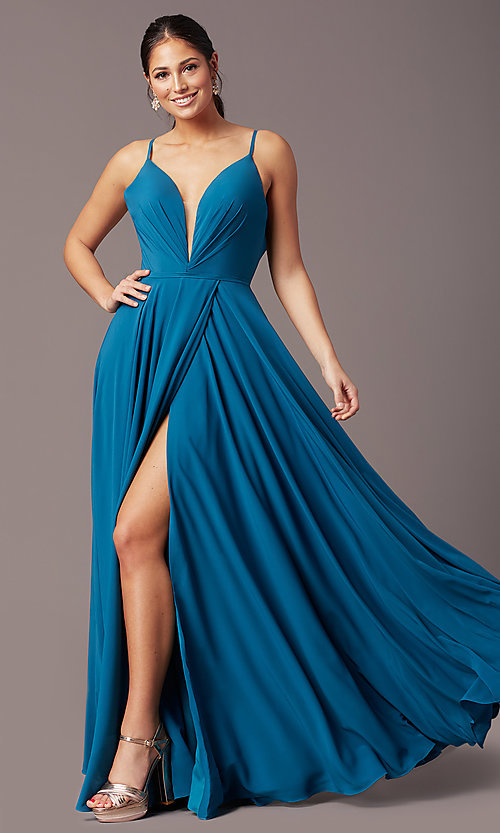 Image of long formal deep-v-neck prom dress by PromGirl. Style: PG-F2003 Detail Image 2