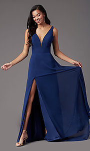 Image of long sleeveless formal prom dress by PromGirl. Style: PG-F2008 Detail Image 1