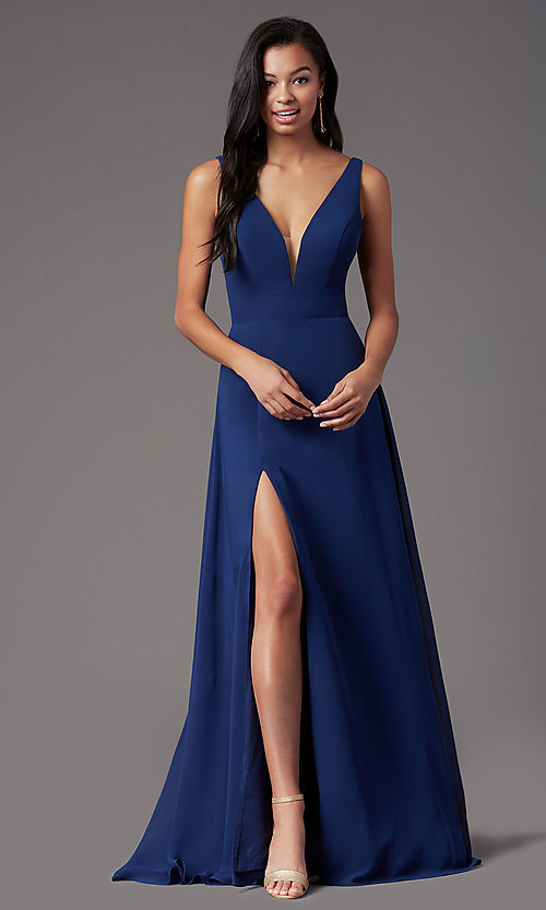 Image of long sleeveless formal prom dress by PromGirl. Style: PG-F2008 Front Image