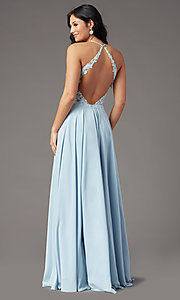 Image of open-back long prom dress by PromGirl. Style: PG-F2013 Back Image