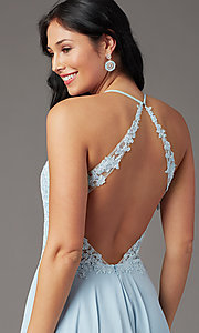 Image of open-back long prom dress by PromGirl. Style: PG-F2013 Detail Image 1
