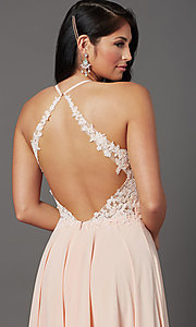 Image of open-back long prom dress by PromGirl. Style: PG-F2013 Detail Image 5