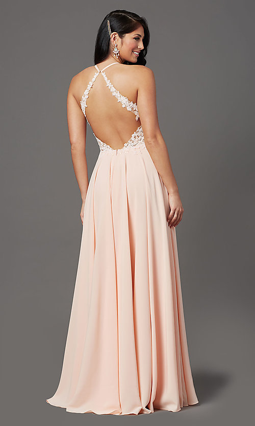 Image of open-back long prom dress by PromGirl. Style: PG-F2013 Detail Image 4