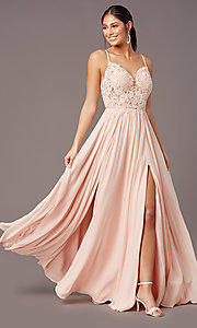 Image of PromGirl long formal prom dress with embroidery. Style: PG-F2014 Detail Image 7