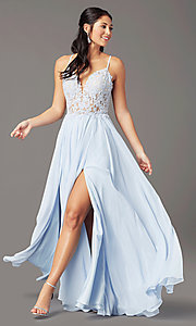 Image of PromGirl long formal prom dress with embroidery. Style: PG-F2014 Detail Image 2