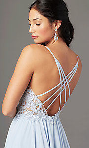 Image of PromGirl long formal prom dress with embroidery. Style: PG-F2014 Detail Image 1