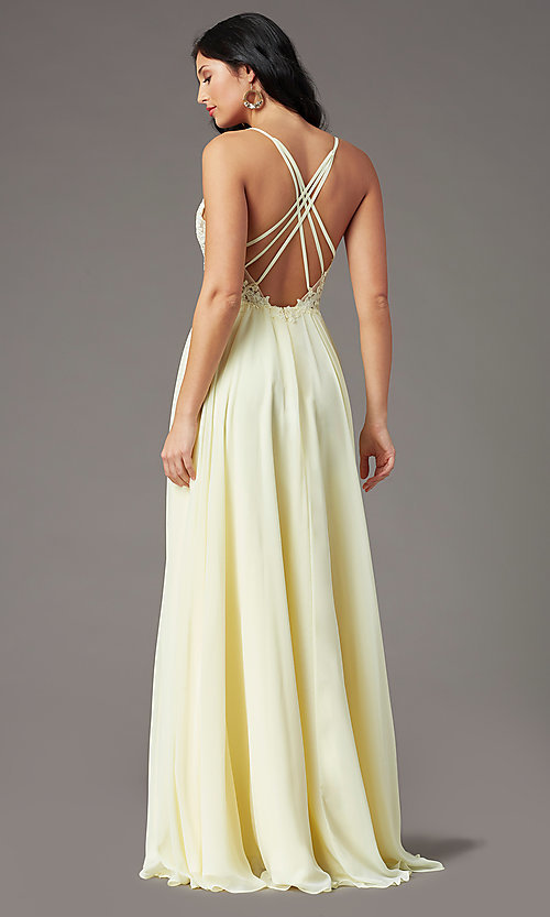 Image of PromGirl long formal prom dress with embroidery. Style: PG-F2014 Detail Image 4