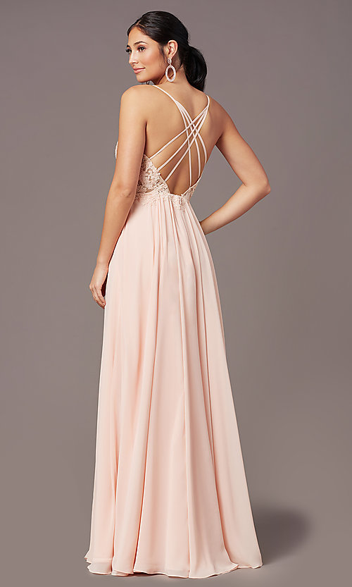 Image of PromGirl long formal prom dress with embroidery. Style: PG-F2014 Detail Image 8