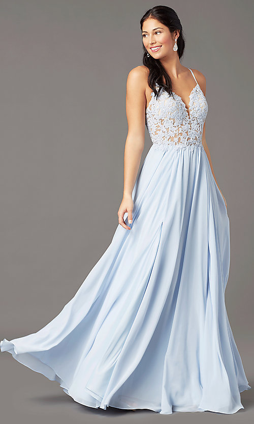 Image of PromGirl long formal prom dress with embroidery. Style: PG-F2014 Front Image