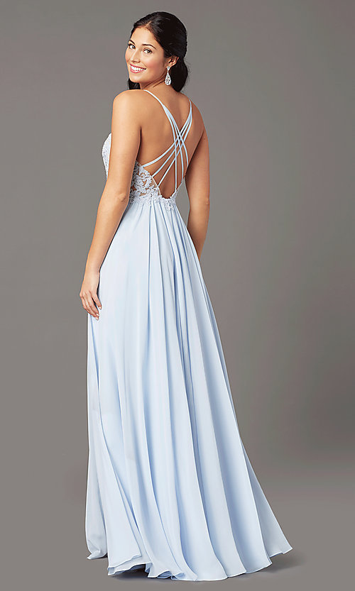 Image of PromGirl long formal prom dress with embroidery. Style: PG-F2014 Back Image