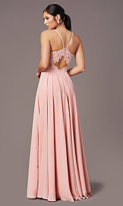 Image of cut-out-back long formal prom dress by PromGirl. Style: PG-F2015 Back Image