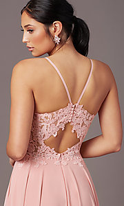 Image of cut-out-back long formal prom dress by PromGirl. Style: PG-F2015 Detail Image 2