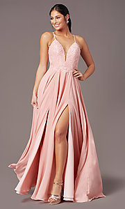 Image of cut-out-back long formal prom dress by PromGirl. Style: PG-F2015 Front Image