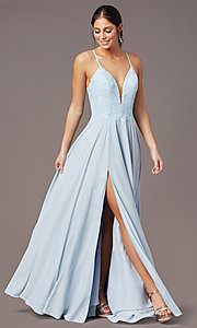 Image of cut-out-back long formal prom dress by PromGirl. Style: PG-F2015 Detail Image 3