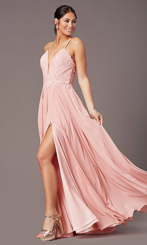 Image of cut-out-back long formal prom dress by PromGirl. Style: PG-F2015 Detail Image 1