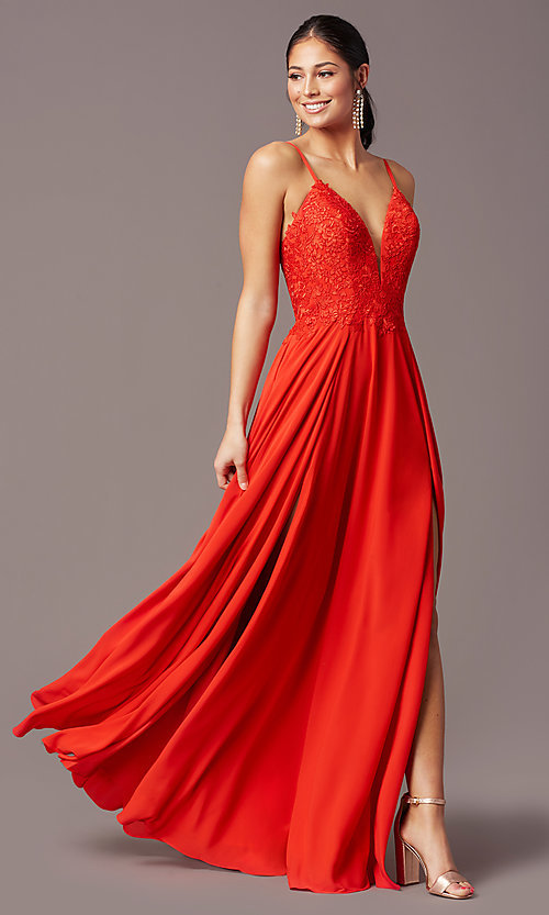 Image of cut-out-back long formal prom dress by PromGirl. Style: PG-F2015 Detail Image 5