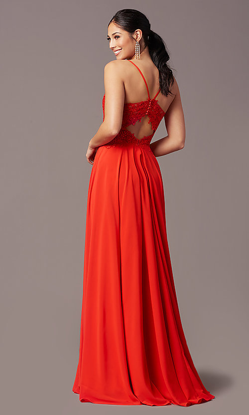 Image of cut-out-back long formal prom dress by PromGirl. Style: PG-F2015 Detail Image 6