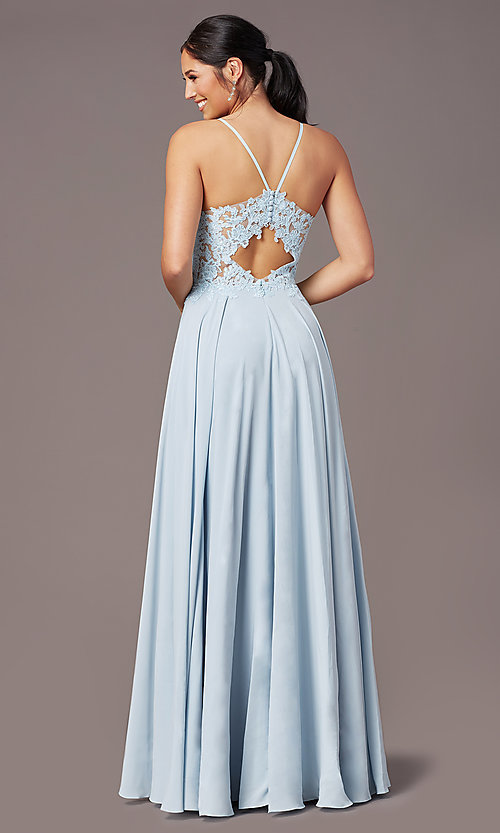 Image of cut-out-back long formal prom dress by PromGirl. Style: PG-F2015 Detail Image 4