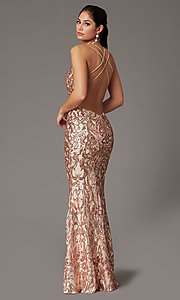Image of backless long sequin formal prom dress by PromGirl. Style: PG-F2021 Back Image