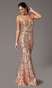 Image of backless long sequin formal prom dress by PromGirl. Style: PG-F2021 Detail Image 1