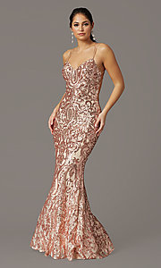 Image of backless long sequin formal prom dress by PromGirl. Style: PG-F2021 Front Image