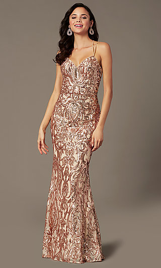 Open Back Long Sequin Prom Dress by PromGirl