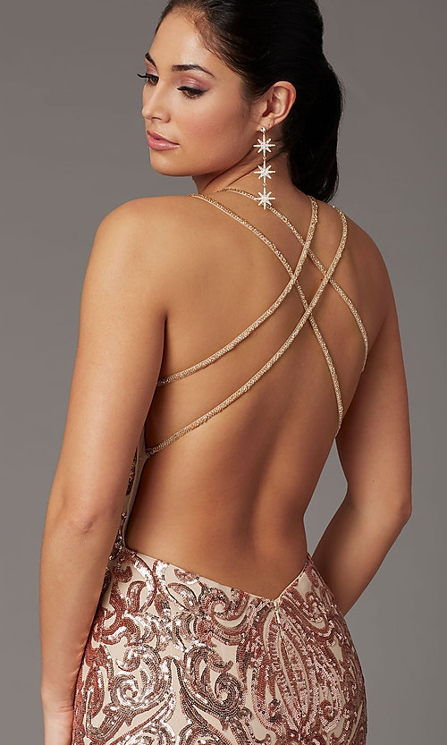 Image of backless long sequin formal prom dress by PromGirl. Style: PG-F2021 Detail Image 2