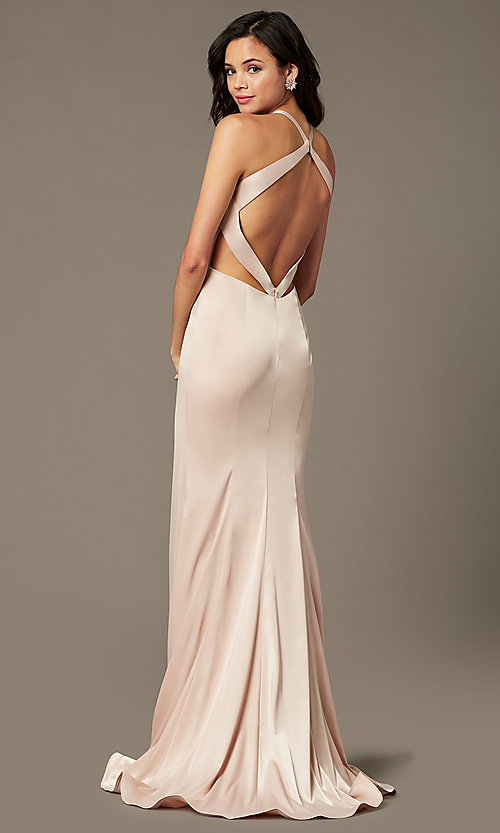 Image of open-back long satin prom dress by PromGirl. Style: PG-F2025 Detail Image 4