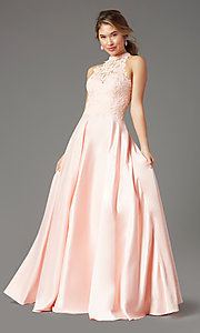 Image of illusion-sweetheart long prom dress by PromGirl. Style: PG-F2033 Detail Image 6