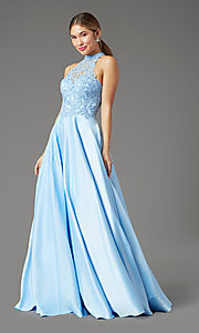 Image of illusion-sweetheart long prom dress by PromGirl. Style: PG-F2033 Front Image