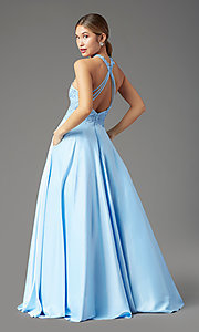 Image of illusion-sweetheart long prom dress by PromGirl. Style: PG-F2033 Back Image