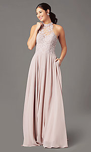 Image of long chiffon PromGirl prom dress with pockets. Style: PG-F2034 Detail Image 2