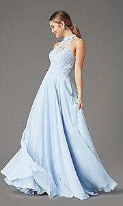 Image of long chiffon PromGirl prom dress with pockets. Style: PG-F2034 Detail Image 3