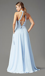 Image of long chiffon PromGirl prom dress with pockets. Style: PG-F2034 Detail Image 4