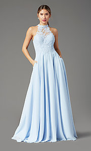 Image of long chiffon PromGirl prom dress with pockets. Style: PG-F2034 Detail Image 6