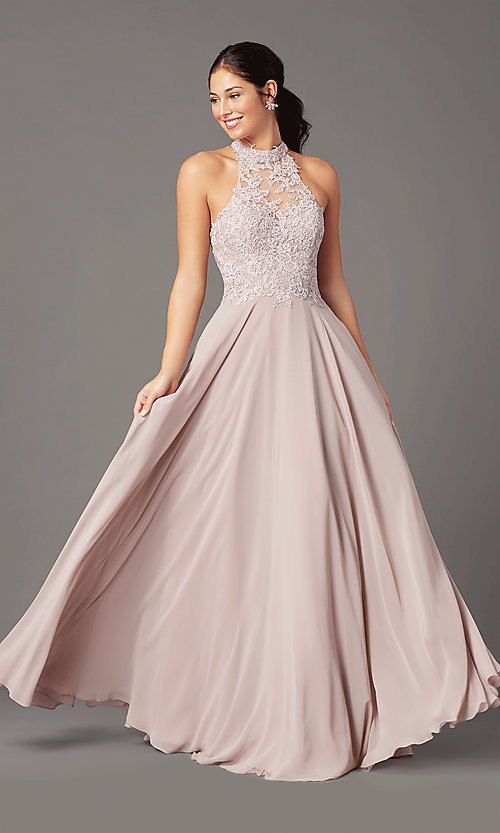 Image of long chiffon PromGirl prom dress with pockets. Style: PG-F2034 Front Image