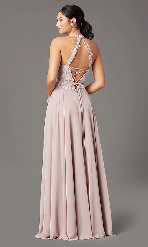 Image of long chiffon PromGirl prom dress with pockets. Style: PG-F2034 Back Image