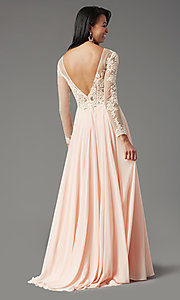 Image of long-sleeve long formal prom dress by PromGirl. Style: PG-F2037 Detail Image 4