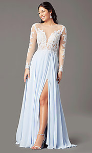 Image of long-sleeve long formal prom dress by PromGirl. Style: PG-F2037 Detail Image 1