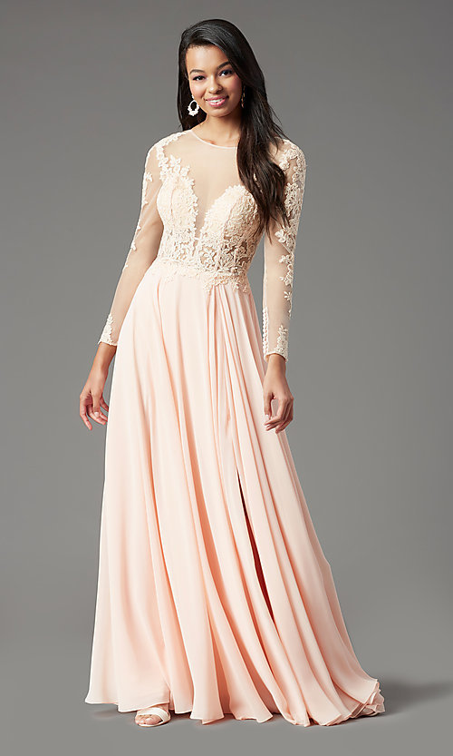 Image of long-sleeve long formal prom dress by PromGirl. Style: PG-F2037 Detail Image 3