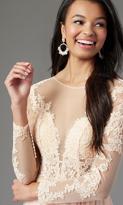 Image of long-sleeve long formal prom dress by PromGirl. Style: PG-F2037 Detail Image 5