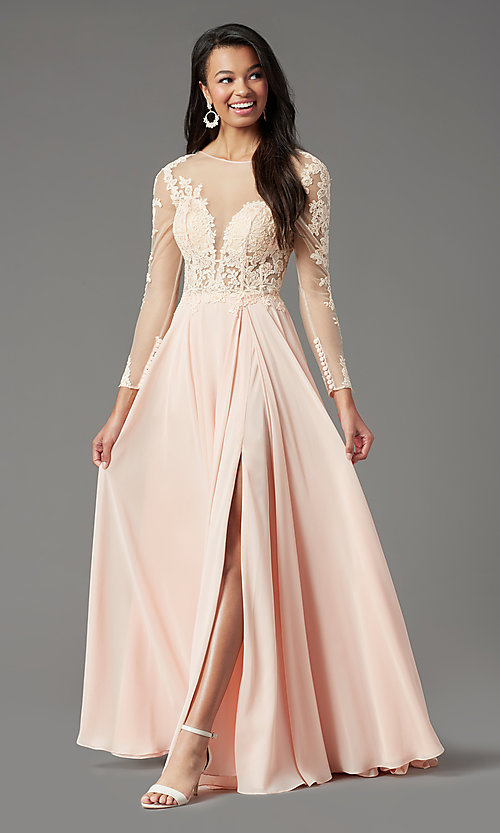 Image of long-sleeve long formal prom dress by PromGirl. Style: PG-F2037 Detail Image 6