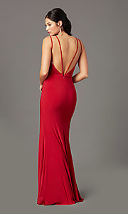 Image of backless long knit formal prom dress by PromGirl. Style: PG-F2042 Back Image