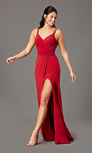 Image of backless long knit formal prom dress by PromGirl. Style: PG-F2042 Detail Image 2